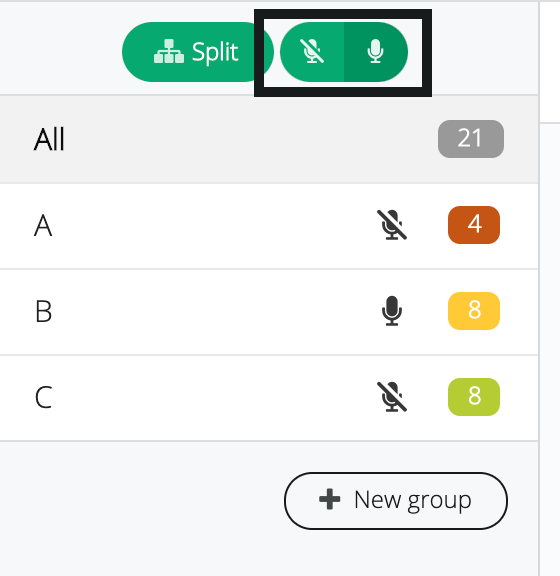 Picture showing Audio on for all groups/ Mute all groups option